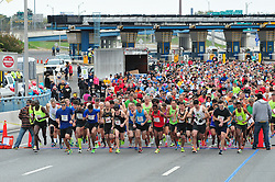Runners are send off for the Cooper Norcross Run the Bridge 10k on Sunday morning. (Bastiaan Slabbers/for PhillyVoice)