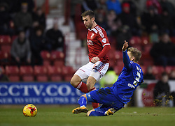 Chesterfield's Daniel Jones intercepts Swindon Town's Andy Williams in the Sky Bet League One match between Swindon Town and Chesterfield at The County Ground on January 17, 2015 in Swindon, England. - Photo mandatory by-line: Paul Knight/JMP - Mobile: 07966 386802 - 17/01/2015 - SPORT - Football - Swindon - The County Ground - Swindon Town v Chesterfield - Sky Bet League One