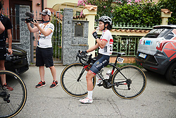 Eri Yonamine (JPN) reflects on the day at Giro Rosa 2018 - Stage 5, a 122.6 km road race starting and finishing in Omegna, Italy on July 10, 2018. Photo by Sean Robinson/velofocus.com