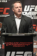 "COLOGNE, GERMANY, JUNE 11, 2009: UFC Vice President Marshall Zelaznik opens proceedings at the pre-fight press conference for ""UFC 99: The Comeback"" inside the Hyatt Regency Hotel in Cologne, Germany on June 11, 2009."