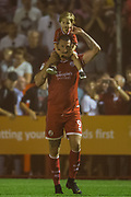 Ollie Palmer (Crawley Town) celebrates the team's win following  the EFL Cup match between Crawley Town and Norwich City at The People's Pension Stadium, Crawley, England on 27 August 2019.