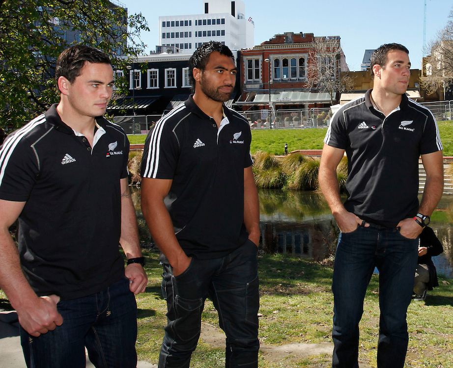 All Black's  Zac Guilford, left, Victor Vito and Richard Kahui viewing earthquake damage from outside the Christchurch red zone when the All Blacks visited Christchurch, New Zealand, Sunday, September 18, 2011.  Credit:SNPA / Pam Johnson