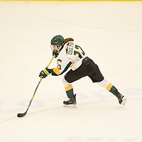 1st year forward Emma Coulter (13) of the Regina Cougars in action during the Women's Hockey home game on February 9 at Co-operators arena. Credit: Arthur Ward/Arthur Images