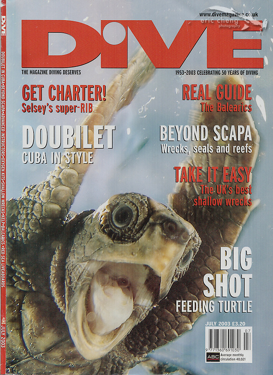 Dive Magazine, July 2013. First magazine cover for Eric Cheng. Screaming Turtle, Palm Beach, Florida. Eric Cheng magazine covers.