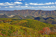 View of North Fork Mountain and autumn colors in the Allegheny mountains of east-central West Virginia