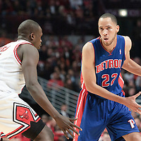 30 October 2010: Detroit Pistons Tayshaun Prince looks to pass the ball against Chicago Bulls Luol Deng during the Chicago Bulls 101-91 victory over the Detroit Pistons at the United Center, in Chicago, Illinois, USA.