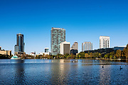 City skyline and Lake Eola, Orlando, Florida, USA