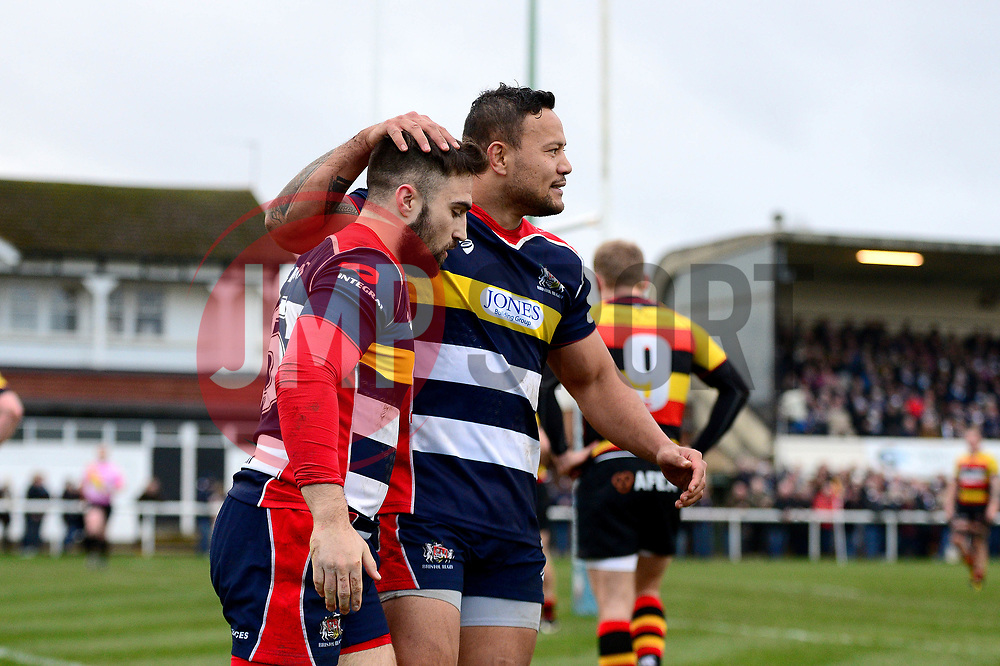 Jordan Williams of Bristol Rugby celebrates scoring a try with Alapati Leiua - Mandatory by-line: Dougie Allward/JMP - 30/12/2017 - RUGBY - The Athletic Ground - Richmond, England - Richmond v Bristol Rugby - Greene King IPA Championship