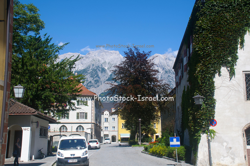 Austria, Hall in Tirol Mount Bettelwurf in the background.