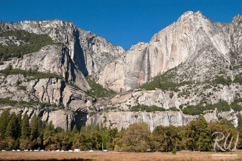 Yosemite Falls With Rare Display of Water During Fall Season, Yosemite National Park, California