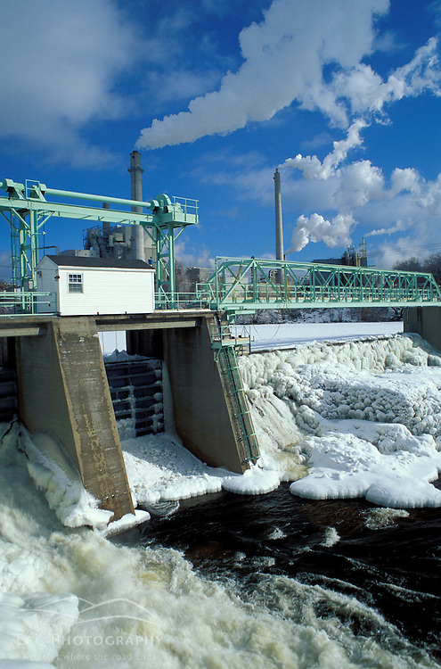 A hydropower dam on NH's Androscoggin River powers the paper mill in Berlin, NH.