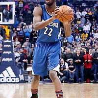 15 February 2017: Minnesota Timberwolves forward Andrew Wiggins (22) looks to pass the ball during the Minnesota Timberwolves 112-99 victory over the Denver Nuggets, at the Pepsi Center, Denver, Colorado, USA.