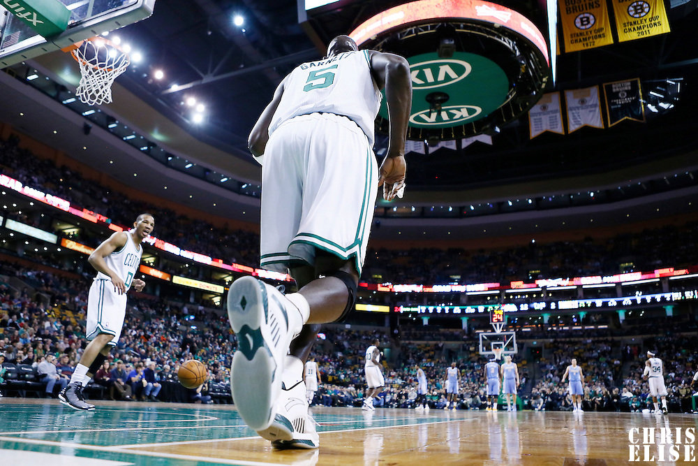 10 February 2013: Boston Celtics power forward Kevin Garnett (5) is seen during the Boston Celtics 118-114 3OT victory over the Denver Nuggets at the TD Garden, Boston, Massachusetts, USA.