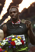 Usain Bolt of Jamaica celebrates on the podium with his medal after winning the 100m of the IAAF Diamond League, International Athletics Meeting, Herculis Monaco on July 17, 2017 at Louis II stadium in Monaco - Photo Manuel Blondeau / AOP Press / ProSportsImages / DPPI