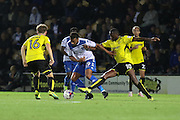 Burton Albion striker Lucas Akins (10) blocks challenges with Bury FC midfielder Tom Soares (19) during the EFL Cup match between Burton Albion and Bury at the Pirelli Stadium, Burton upon Trent, England on 10 August 2016. Photo by Aaron  Lupton.