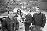 Neville, Lorp, George and Symond with baby outside car on Hawthorne Rd,High Wycombe. Uk, 1980s.