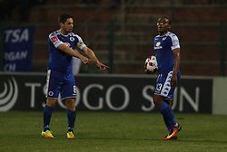 Dean Furman (C) with Thuso Phala of SuperSport United during the 2016 Premier Soccer League match between Supersport United and The Free Stat Stars held at the King Zwelithini Stadium in Durban, South Africa on the 24th September 2016<br /> <br /> Photo by:   Steve Haag / Real Time Images