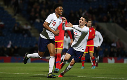 England U21's Reiss Nelson celebrates scoring his side's sixth goal of the game during the UEFA European Under-21 Championship Qualifying, Group 4 match at the Proact Stadium, Chesterfield.