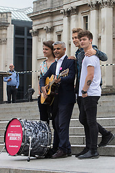 Trafalgar Square, London, July 22nd 2016. International Busking Day is launched in London by Mayor Sadiq Khan together with Jessie Ware, Tinchy Strider, Irish band Keywest and The Vamps. PICTURED: Mayor of London Sadiq Khan poses with The Vamps.<br /> <br /> &copy;Paul Davey<br /> FOR LICENCING CONTACT: Paul Davey +44 (0) 7966 016 296 or 020 8969 6875 paul@pauldaveycreative.co.uk