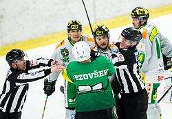 Zan Jezovsek of SZ Olimpija in fight with David Koenig of Lustenau and ... during Ice Hockey match between HK SZ Olimpija and EHC Alge Elastic Lustenau in Semifinal of Alps Hockey League 2018/19, on April 1, 2019, in Arena Tivoli, Ljubljana, Slovenia. Photo by Vid Ponikvar / Sportida