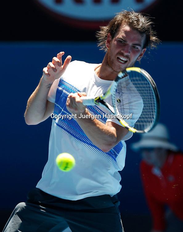 Australian Open 2012, Melbourne Park,ITF Grand Slam Tennis Tournament,Adrian Mannarino (FRA),.Aktion, Einzelbild,Halbkoerper,Hochformat,