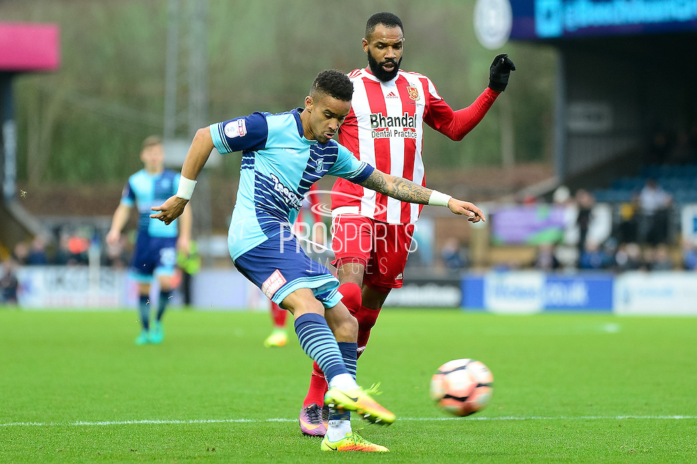 Wycombe Wanderers striker (on loan from Millwall ) Paris Cowan-Hall (12) shoots during the The FA Cup match between Wycombe Wanderers and Stourbridge at Adams Park, High Wycombe, England on 7 January 2017. Photo by Dennis Goodwin.