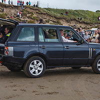Range Rover Vogue at Pendine Sands, 21 July 2015, for the commemoration of the 90th anniversary of Sir Malcolm Campbells new world landspeed record where he achieved 150miles/hr in his 350hp Sunbeam Blue Bird