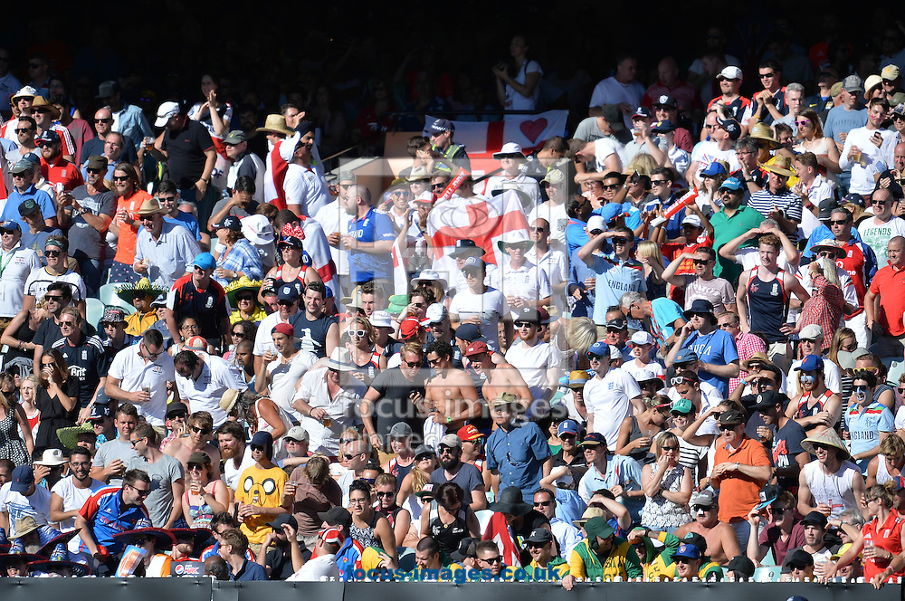 England supporters during the 2015 ICC Cricket World Cup match at Melbourne Cricket Ground, Melbourne<br /> Picture by Frank Khamees/Focus Images Ltd +61 431 119 134<br /> 14/02/2015