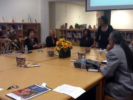 HISD Board of Education Trustee Paula Harris leads a discussion with Team HISD and members of the Houston Branch of the NAACP about HISD's literacy initiative.
