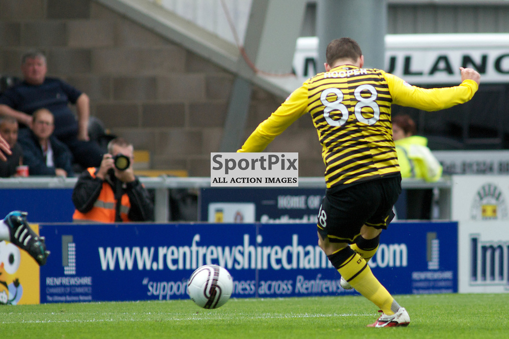 Gary Hooper of Celtic takes the shot which puts Celtic 2 up against St Mirren.