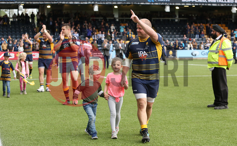 Callum Black of Worcester Warriors during the end of season lap of honour - Mandatory by-line: Joe Dent/JMP - 18/05/2019 - RUGBY - Sixways Stadium - Worcester, England - Worcester Warriors v Saracens - Gallagher Premiership Rugby
