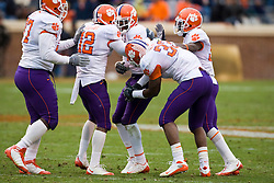 Clemson safety DeAndre McDaniel (2) celebrates with teammates after an interception to seal the game.  The Clemson Tigers defeated the Virginia Cavaliers 13-3 in NCAA Division 1 football at Scott Stadium on the Grounds of the University of Virginia in Charlottesville, VA on November 22, 2008.