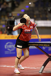 30.01.2016, Max Schmeling Halle, Berlin, GER, German Open 2016, im Bild Ai Fukuhara (JPN) bei der Angabe // during the table Tennis 2016 German Open at the Max Schmeling Halle in Berlin, Germany on 2016/01/30. EXPA Pictures © 2016, PhotoCredit: EXPA/ Eibner-Pressefoto/ Wuest<br /> <br /> *****ATTENTION - OUT of GER*****