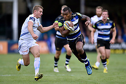 Semesa Rokoduguni of Bath Rugby takes on the Exeter defence - Mandatory byline: Patrick Khachfe/JMP - 07966 386802 - 17/10/2015 - RUGBY UNION - The Recreation Ground - Bath, England - Bath Rugby v Exeter Chiefs - Aviva Premiership.