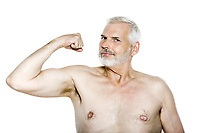 caucasian man portrait show muscle isolated studio on white background