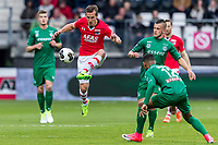 ALKMAAR - 01-04-2017, AZ - FC Groningen, AFAS Stadion, AZ speler Stijn Wuytens, FC Groningen speler Jesper Drost