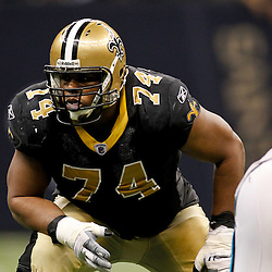 January 1, 2012; New Orleans, LA, USA; New Orleans Saints offensive tackle Jermon Bushrod (74) against the Carolina Panthers during the second half of a game at the Mercedes-Benz Superdome. The Saints defeated the Panthers 45-17. Mandatory Credit: Derick E. Hingle-US PRESSWIRE