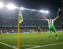 February 7, 2019 - Seville, Spain - Real Betis' Spanish midfielder Joaquin celebrates scoring their second goal  during the Spanish Copa del Rey (King's Cup) semi-final first leg football match between Real Betis and Valencia CF at the Benito Villamarin stadium in Seville on February 7, 2019. (Credit Image: © Raddad Jebarah/NurPhoto via ZUMA Press)