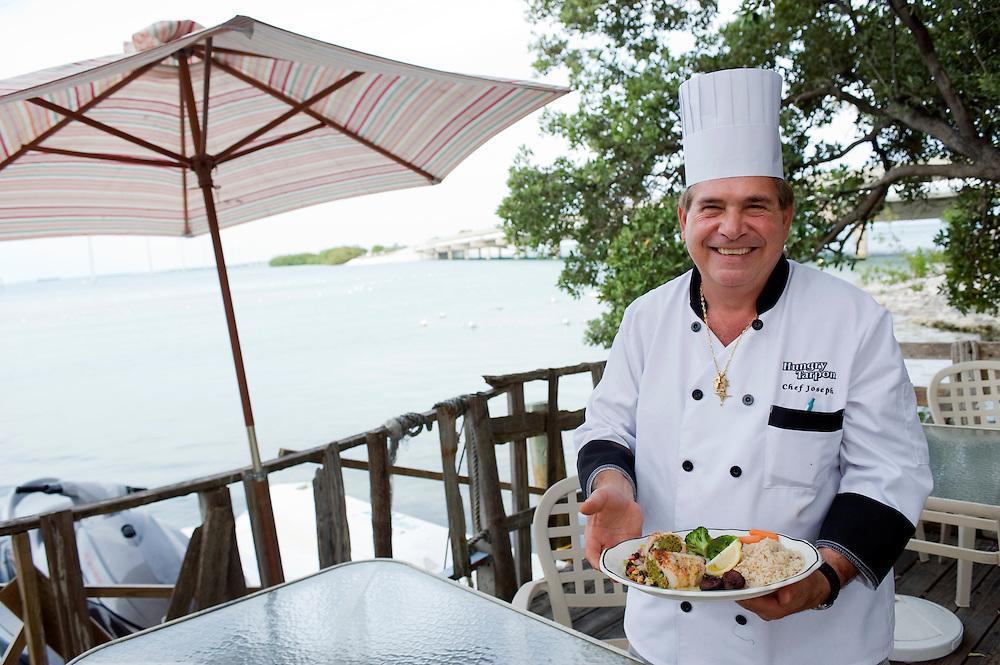 Restaurant Hungry Tarpon, Long Key. Der franzoesische Chef Joseph Sassine ..Florida 2009..Foto © Stefan Falke.