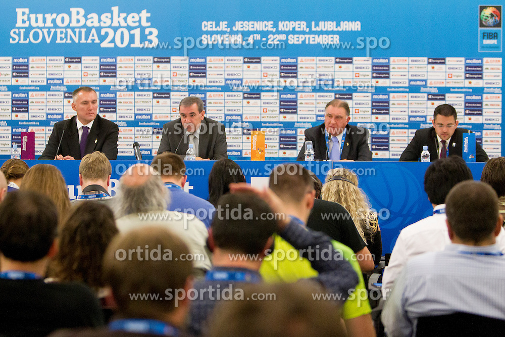 Kamil Novak, FIBA Europe Secretary General and Roman Volcic, president of KZS during press conference at Last Day of Eurobasket 2013 on September 22, 2013 in SRC Stozice, Ljubljana, Slovenia. (Photo By Urban Urbanc / Sportida)