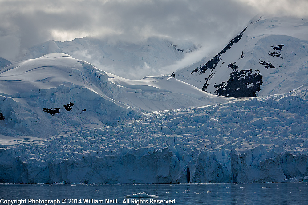 Glacier and mountains, Scontorp Cove in Paradise Bay, Antarctic Peninsula, Antarctica  2014