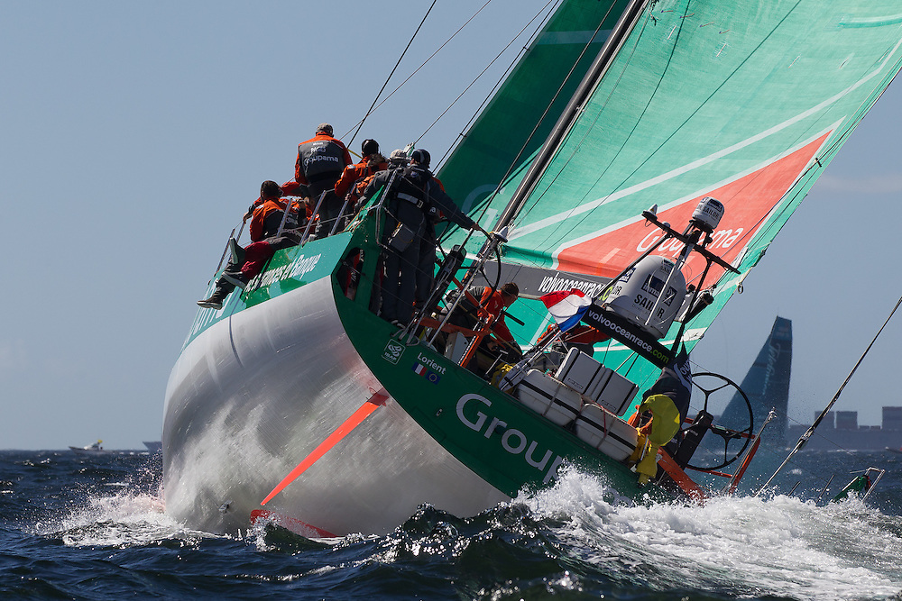 SOUTH AFRICA. 10th December 2011. Volvo Ocean Race. V and A Waterfront In Port Race. Groupama Sailing Team.