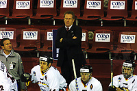 Icehockey. Qualification Olympic Games. Norway-Germany 8 january 2001. Norge-Tyskland, Jordal Amfi. Germanys head coach Hans Zach.