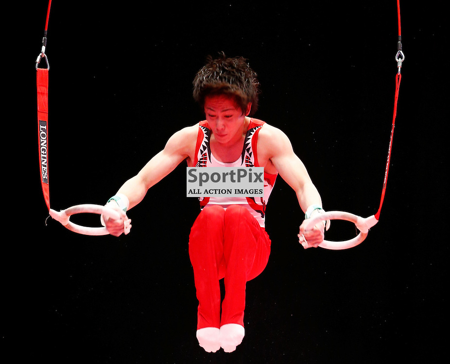 2015 Artistic Gymnastics World Championships being held in Glasgow from 23rd October to 1st November 2015.....Ryohei Kato (Japan) competing in the Still Rings competition..(c) STEPHEN LAWSON | SportPix.org.uk