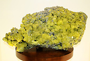 Sulphur crystals - Sulphur often forms around hot springs, volcanoes and vents where hot sulphur-rich gases are released.  Some of the finest sulphur crystals in the world come from Sicily where the sulphur has been produced by the action of bacteria on t