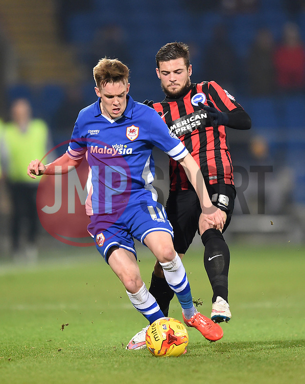 Cardiff City's Craig Noone and Brighton and Hove Albion's Jake Forster-Caskey in action during the Sky Bet Championship match at Cardiff City Stadium on 10 February 2015 in Cardiff, Wales - Photo mandatory by-line: Paul Knight/JMP - Mobile: 07966 386802 - 10/02/2015 - SPORT - Football - Cardiff - Cardiff City Stadium - Cardiff City v Brighton & Hove Albion - Sky Bet Championship