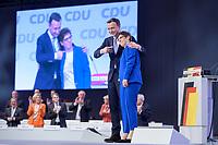 22 NOV 2019, LEIPZIG/GERMANY:<br /> Paul Ziemiak (L), CDU Generalsekretaer, und Annegret Kramp-Karrenbauer (R), CDU Bundesvorsitzende und Bundesverteidigungsministerin, nach der Rede von AKK, CDU Bundesparteitag, CCL Leipzig<br /> IMAGE: 20191122-01-159<br /> KEYWORDS: Parteitag, party congress, Applaus, applaudieren, klatschen, Jubel