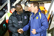 outhend Manager Chris Powell and Burton Albion manager Nigel Clough during the EFL Sky Bet League 1 match between Burton Albion and Southend United at the Pirelli Stadium, Burton upon Trent, England on 2 October 2018.