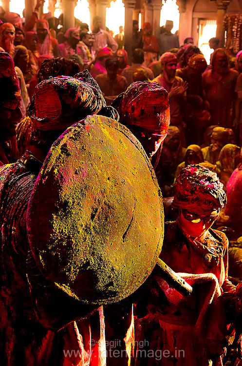 Samaj is followed by Lathmar Holi. A man getting ready for Lathmar Holi at Barsana, Mathura. Braj ki Holi