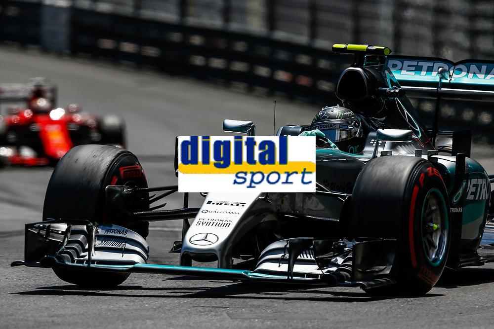 ROSBERG nico (ger) mercedes gp mgp w06, VETTEL sebastian (ger) ferrari sf15t action during the 2015 Formula One World Championship, Grand Prix of Monaco from on May 24th 2015,  in Monaco. Photo Florent Gooden / DPPI
